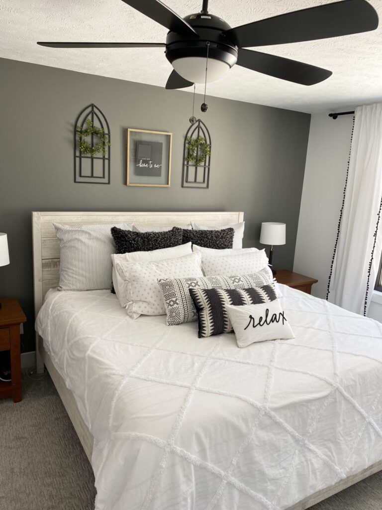 bedroom decor white and gray